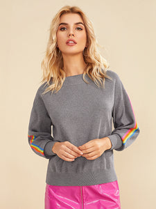Drop Shoulder Colorful Striped Tape Sleeve Sweater