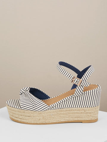 Bow Front Buckle Closure Jute Trim Wedge Sandals