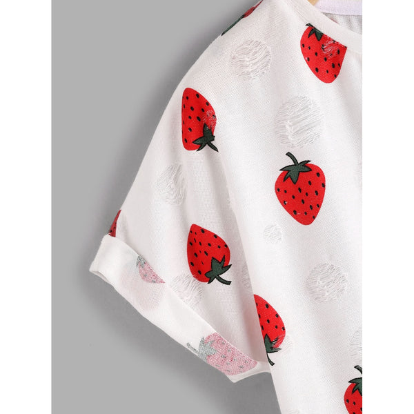 Allover Strawberry Print Frayed Dot Tee