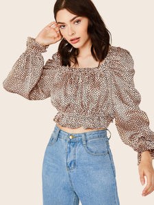 Square Neck Puff Sleeve Polka Dot Blouse