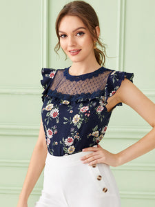 Ruffle Trim Mesh Yoke Floral Print Top