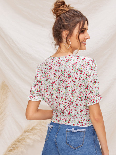 Ditsy Floral Plunging Neck Shirt
