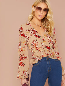Botanical Print Lantern Sleeve Layer Hem Shirt