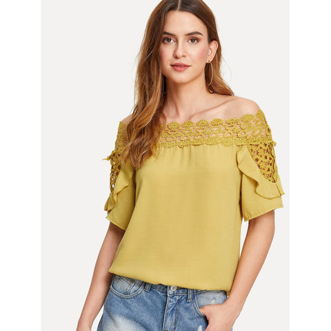 Guipure Lace Panel Bardot Top Yellow