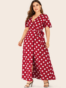 Plus Polka Dot Self Tie Maxi Wrap Dress