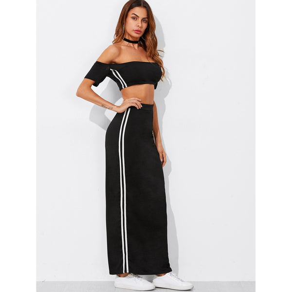 Bardot Crop Tee With Tape Side Skirt BLACK