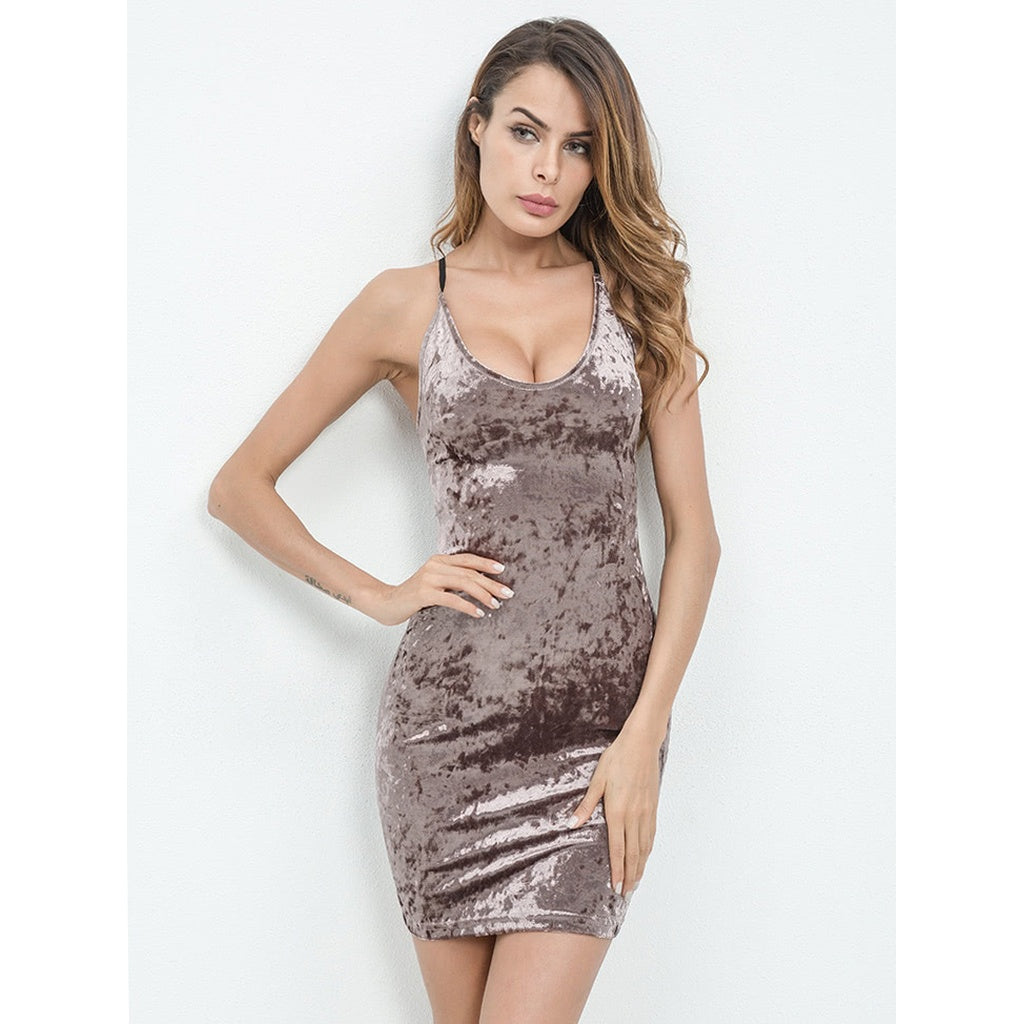 ff04f5c06169a Lace Up Open Back Crushed Velvet Bodycon Dress | Anabella's