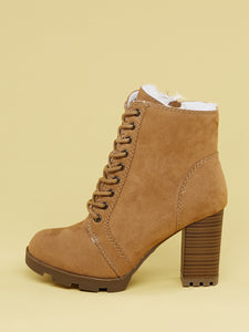 Faux Fur Lined Lace Up Chunky Heel Hiking Boots