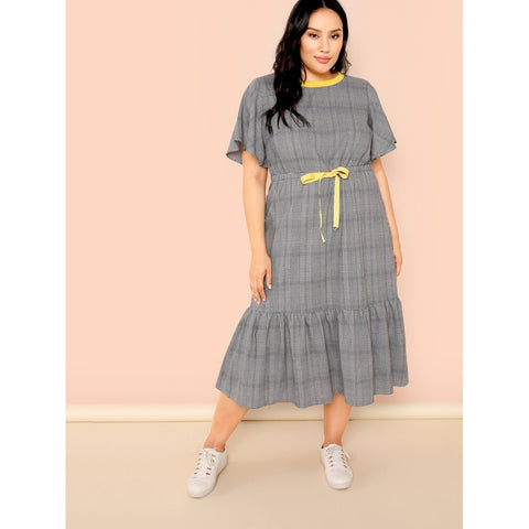Plus Flutter Sleeve Drawstring Waist Plaid Dress Grey