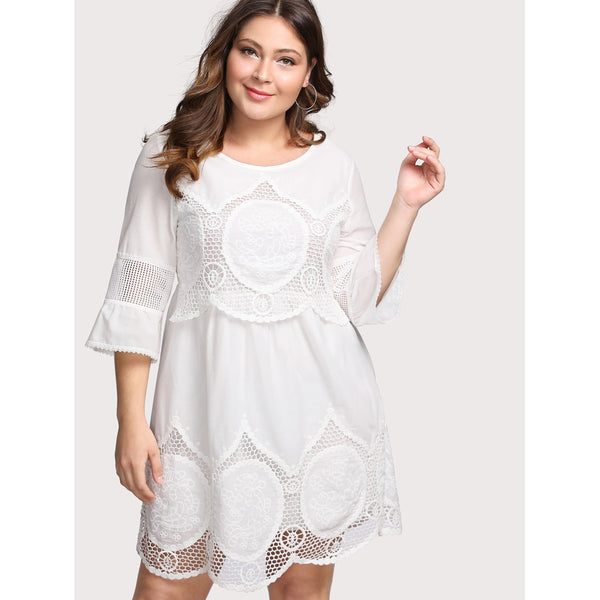 Hollow Out Crochet Panel Dress - Anabella's