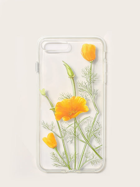 Flower Pattern Transparent iPhone Case