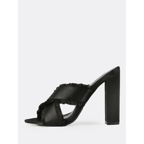 Cross Band Mules BLACK - Anabella's