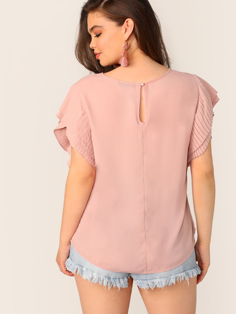 ad1dfdb52a6d Plus Keyhole Back Pleated Layered Sleeve Top   Anabella's