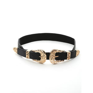 Gold Hollow Out Trim Double Buckle Belt