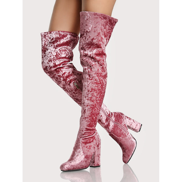 Velvet Thigh High Boots MAUVE - Anabella's