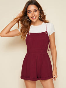 Pocket Detail Cuffed Hem Pinafore Romper