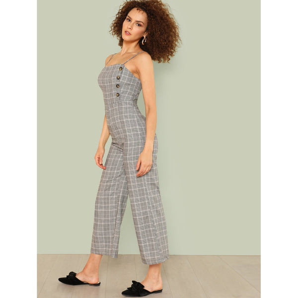 Button Embellished Plaid Cami Jumpsuit
