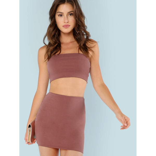 Bandeau Top with Mini Skirt