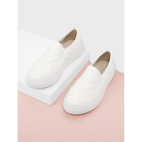 Quilted Slip On Sneakers White