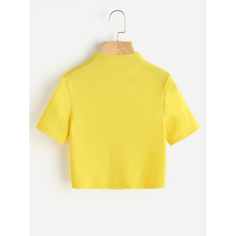 High Neck Ribbed Crop Tee Yellow