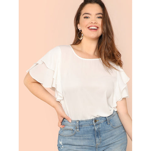Plus Ruffle Trim Semi Sheer Top