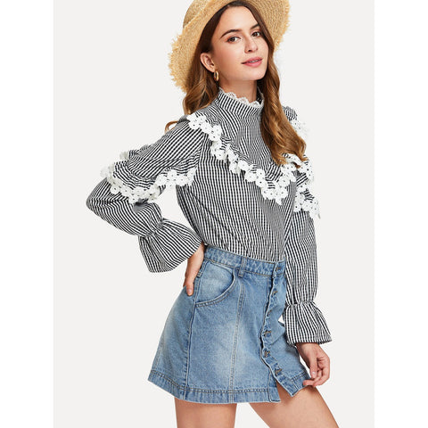 Floral Lace Embellished Flounce Sleeve Striped Top