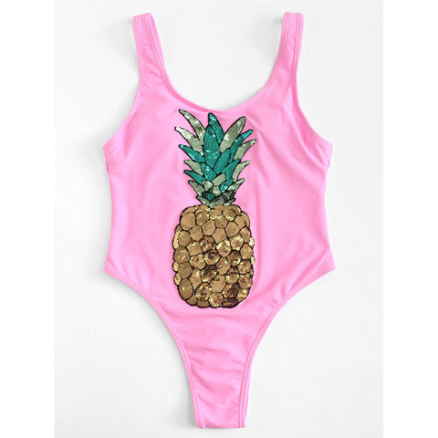 Sequin Pineapple Swimsuit PINK