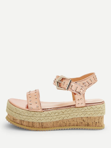 Studded Decor Open Toe Espadrille Sandals