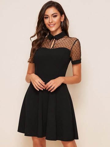 Keyhole Front Dobby Mesh Yoke Skater Dress