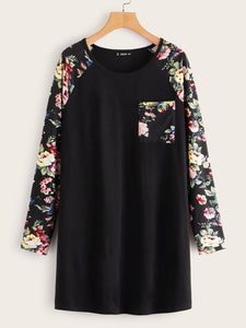 Floral Print Raglan Sleeve Pocket Patch T-shirt Dress