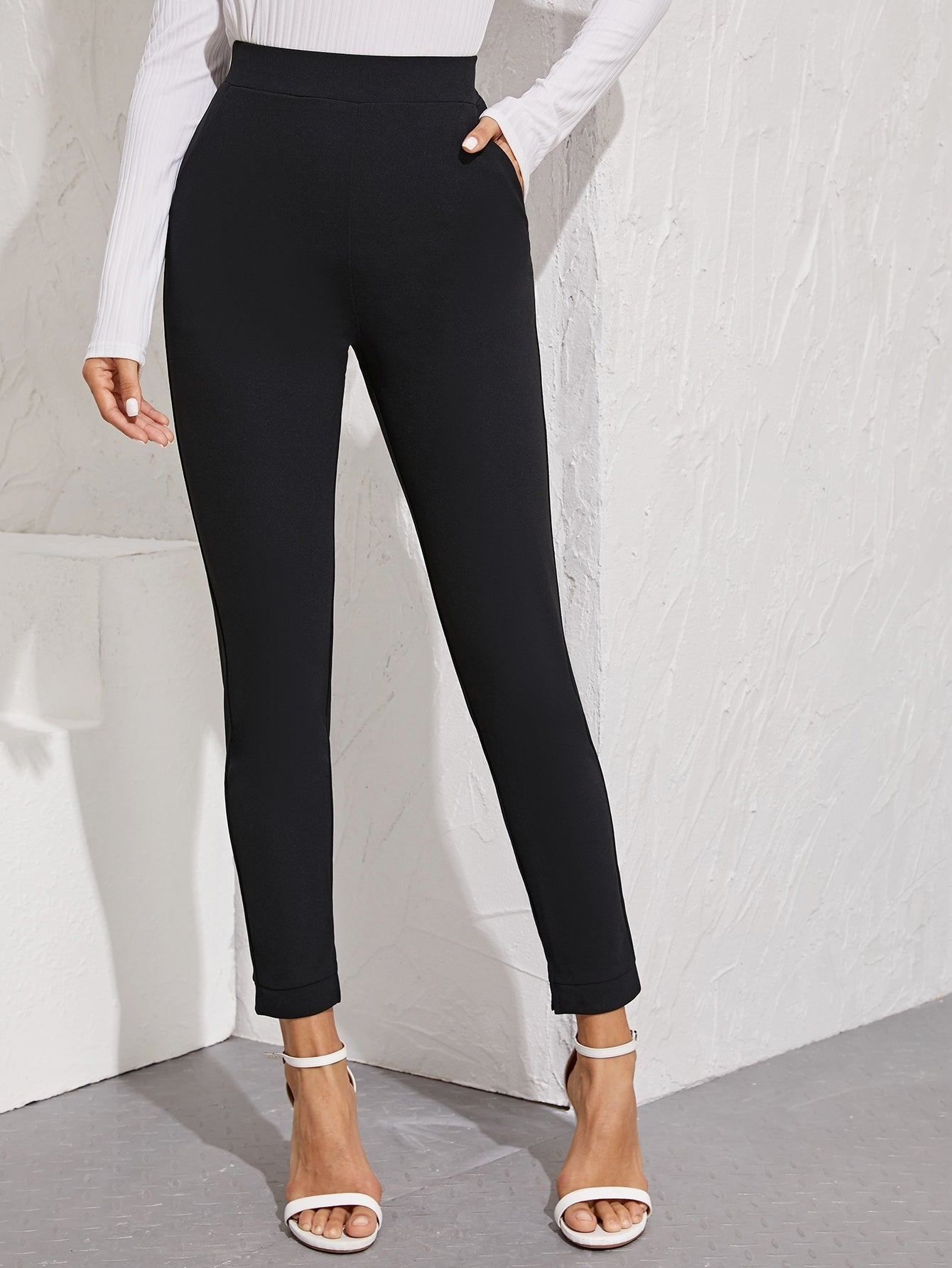 Slant Pocket Detail Slit Hem Skinny Pants