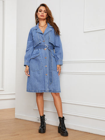 Denim Single Breasted Lapel Collar Belted Coat