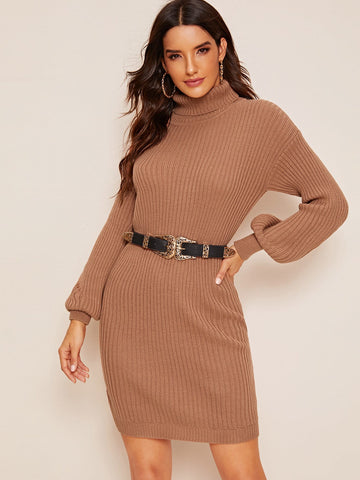 Rolled Neck Drop Shoulder Rib-knit Sweater Dress