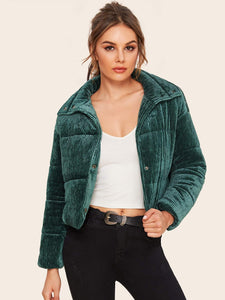 Button Up Ribbed Velvet Padded Jacket