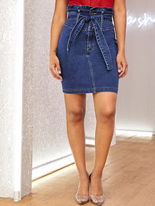 Paperbag Waist Bodycon Denim Skirt