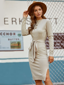 Ribbed Waist Split Side Belted Soft Knit Sweater Dress