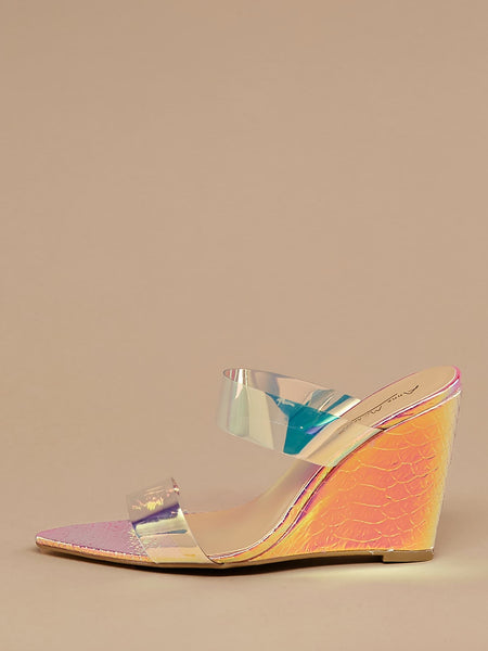 Double Transparent Band Wedge Sandals
