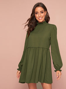 Frilled Neck Bishop Sleeve Smock Dress