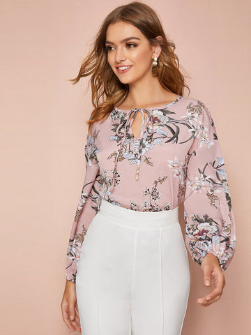 Tie Neck Botanical Print Top