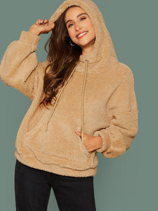 Pocket Front Drawstring Teddy Hoodie