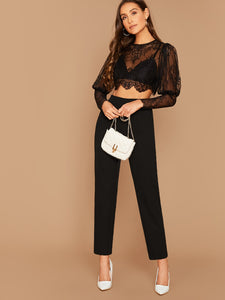Gigot Sleeve Sheer Lace Top Without Bra & Cigarette Pants Set