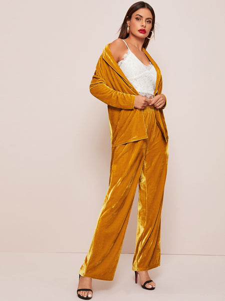 Shawl Collar Single Button Velvet Top & Wide Leg Pants Set