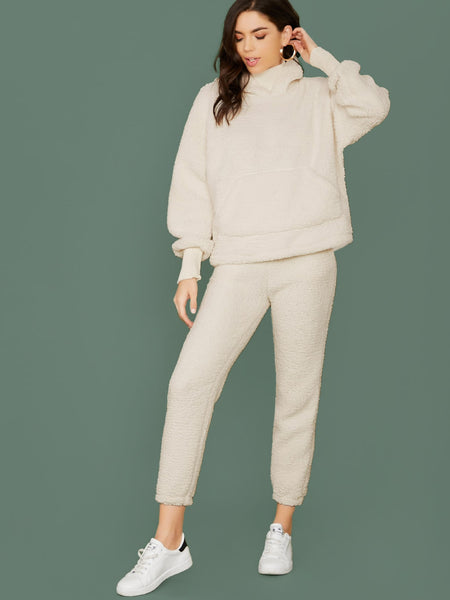 Fuzzy Bear Pullover Hoodie And Sweatpants Set