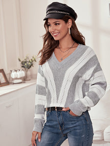 Pointelle Knit Drop Shoulder Striped Sweater