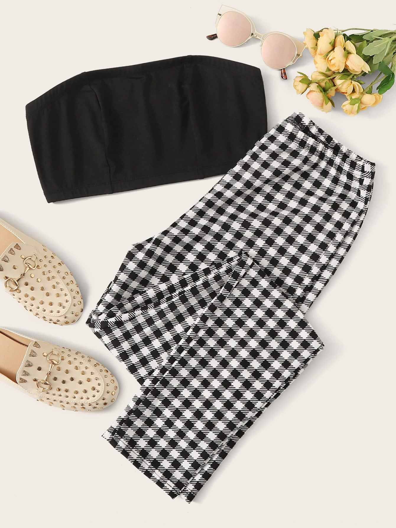 Solid Tube Top & Gingham Print Pants Set