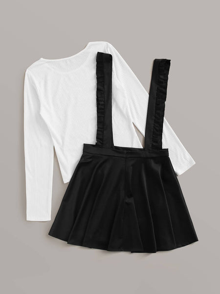 Solid Ribbed Tee & Ruffle Straps Skirt
