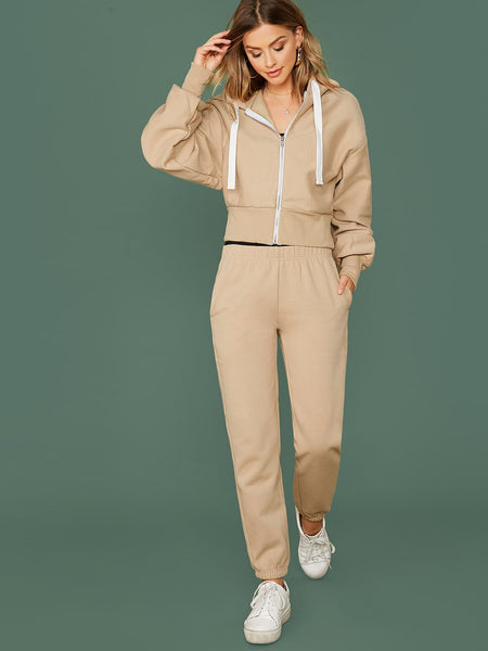 Zip Front Hooded Sweatshirt And Sweatpants Set