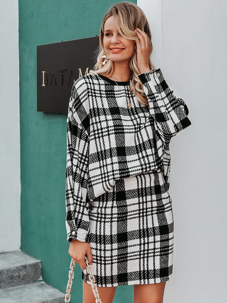 Simplee Plaid Print Drop Shoulder Top & Skirt Set
