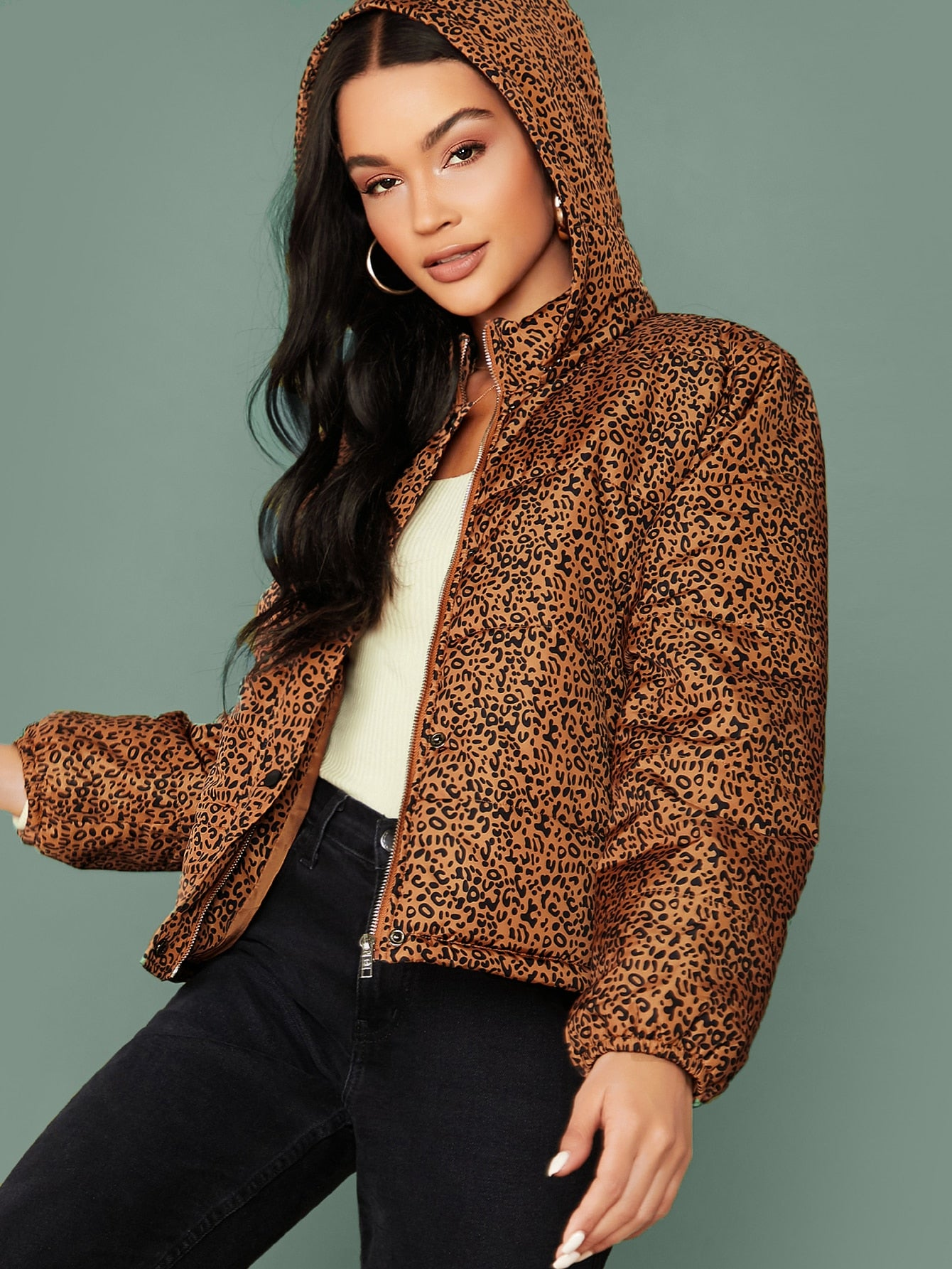 Leopard Print Pocket Side Hooded Jacket