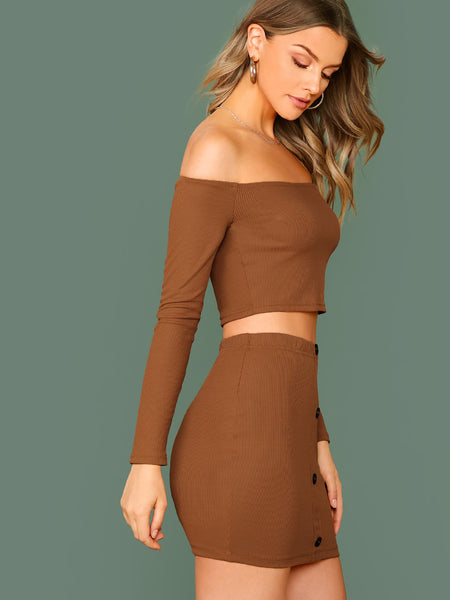 Off Shoulder Rib-knit Crop Top & Button Up Bodycon Skirt Set